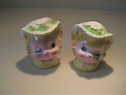Vintage 1950's Enseco Japan Miss Priss Winking Kitty Cat Shakers