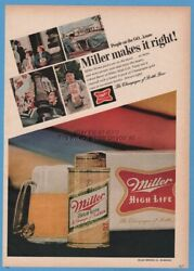 1968 Miller High Life Beer Home 6 Packs Can Photo Milwaukee Wi Print Ad