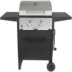 2-burner Gas Grill Small Portable Wheels Stainless Cooking Bbq Outdoor Meat New