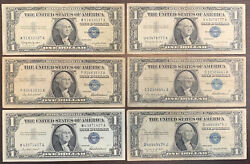 1935 B And 1957 1 Silver Certificate Blue Seal 6 Banknotes