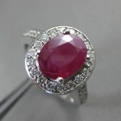 Antique 2.3ct Diamond And Ruby 14kt White Gold Halo Design Engagement Ring 3046