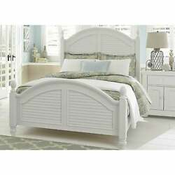 Summer House Oyster White Cottage Low Poster Bed White Queen