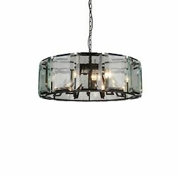12 Light Chandelier With Black Finish And Clear Crystals Black