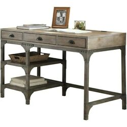 Wood And Metal Desk With Three Drawers And Two Side Shelves Brown Medium