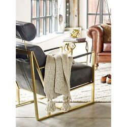 Aurelle Home Modern Gold And Black Rustic Leather Chair Black