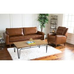 Abbyson Holloway Mid Century Top Grain Leather Sofa And Camel Bohemian And Eclecti