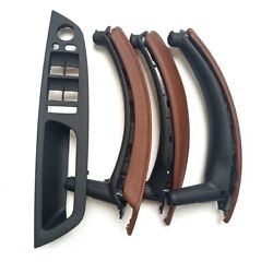For Bmw X5 X6 E70 E71 Inner Door Leather Handle Red Brown Pull Trim 2 Holes