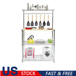 Four-tier Powder Coating Baker's Rack Microwave Oven Rack With Mdf Board Shelves