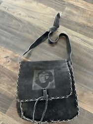 Black Leather Suede Bag Cross Body Purse With Che Guevara On Front $30.00