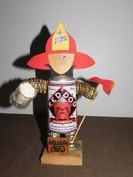 Vintage Novelty 11 1/2 High Red Dog Beer Can Fireman Statue Pop Out Pee Pee
