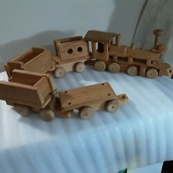 Vintage Vermont Wooden Toys Handmade 5 Part Railroad Set Pre-owned