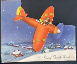 British Royal Air Force Christmas Wishes Mechanical Card Military
