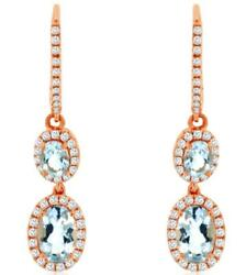 1.45ct Diamond And Aaa Aquamarine 14kt Rose Gold 3d Oval And Round Hanging Earrings