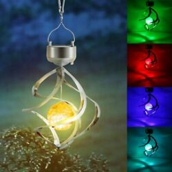 Solar Powered Wind Chimes Led Spiral Spinner Lamp Colour Changing Hanging Light