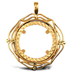 Jewelco London 9ct Gold Wavy Wings Frame Full Sovereign Coin Mount Pendant