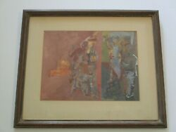 Vintage Mid Century Painting Mystery Cubist Cubism Expressionism Figures Band