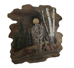 Zeckos Wolf In The Woods Hand Crafted Intarsia Wood Art Wall Hanging