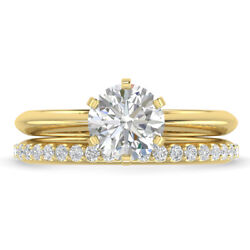 0.91ct D-si1 Diamond Bridal Set Engagement Ring 18k Yellow Gold Any Size