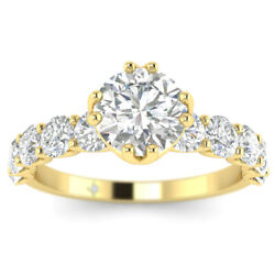 1.7ct D-si1 Diamond Round Engagement Ring 18k Yellow Gold Any Size