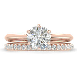 0.91ct D-si1 Diamond Knife-edge Engagement Ring 18k Rose Gold Any Size
