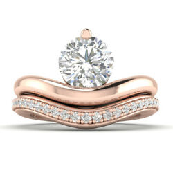 0.95ct D-si1 Diamond Round Engagement Ring 18k Rose Gold Any Size