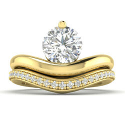 0.95ct D-si1 Diamond Wedding Set Engagement Ring 14k Yellow Gold Any Size