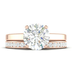 0.91ct D-si1 Diamond Round Engagement Ring 14k Rose Gold Any Size