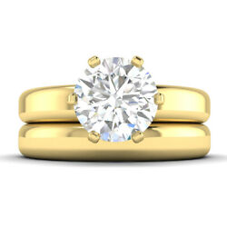 0.9ct D-si2 Diamond Wide Engagement Ring 14k Yellow Gold Any Size