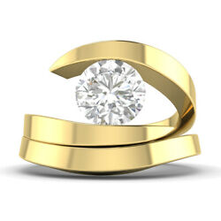 0.9ct D-si2 Diamond Bridal Set Engagement Ring 14k Yellow Gold Any Size