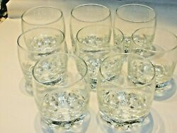Set Of 8 Crown Royal 8 Point Bottom Low Ball Rocks Crystal Whisky Glasses, Italy