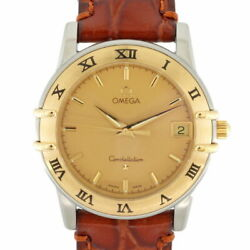 Secondhand Omega Ss Wristwatch Leather Belt Constellation Gold Silver Brown Mens