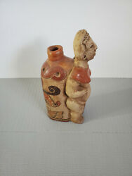 Vtg Antique Clay Pottery Figural Bottle Folk Art Hand Made Decorated 11.25and039and039t