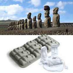 New Easter Island Moai Stone Statues Ice Tray Cubes Diy Mould Pudding Mold C Re