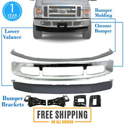 Front Bumper Chrome Steel Kit With Brackets For 2008-2010 Ford F-250 F-350 4wd