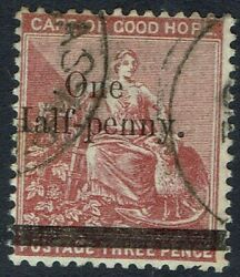 Cape Of Good Hope 1882 Hope Seated One Half- Penny On 3d Wmk Crown Cc Used