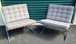 Pair Of Mcm Knoll Barcelona Lounge Chairs - Gray