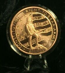 5 Oz. 2nd Amendment Copper Round Coin Capsule Stand Display Complete