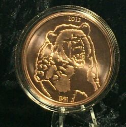 5 Oz. 2013 Bull And Bear Copper Round Coin Capsule Stand Display Complete