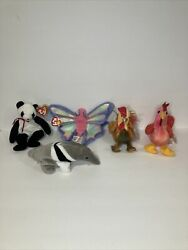 Lot Of Five Vintage 1998-2000 Beanie Babys Rooster Butterfly Ant Eater Panda