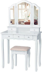 5 Drawer Vanity Table Set Makeup Mirror Dressing Table And Cushioned Stool White
