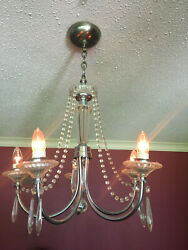 Vintage 1930's Art Deco Lighting Set Beautiful Silver And Glass Crystal