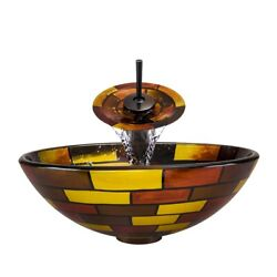 Polaris Sinks Oil-rubbed Bronze/ Stained Glass Vessel Sink Yellow/brown