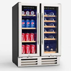 Moosoo 24 Inch Beverage And Wine Refrigerator Dual Zone Wine Cooler Quick Cool