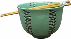 Striped Japanese Noodle Bowl With Chopstick Holder And Chopsticks 5 In