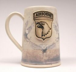 One Of A Kind 28 Oz 101st Airborne Beer Mug W/ Hand Painted Eagles White Glaze