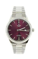 Tudor Style Burgundy Dial Stainless Steel Watch 12710