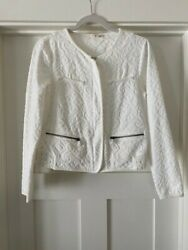 Anthropologie Moth White Quilted Jacquard Jacket Size M Petite Free Shipping