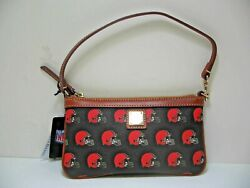 Dooney amp; Bourke BAG Small Clutch Purse Cleveland Browns Brown Black Leather NEW $24.99