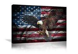 Retro American Flag Bald Eagle Us Military Wall Art 36and039and039wx24and039and039h Artwork-08
