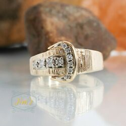 Buckle Ring W/ 10 Stones Mens Ring 14k Gold Size